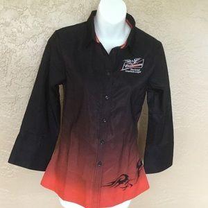 Budweiser Logo Biker Flames Shirt S EUC Bartender
